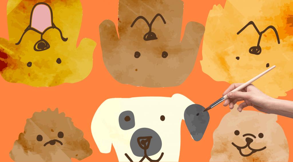 犬のイラスト6匹
